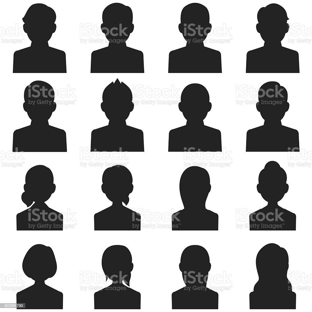 Head silhouette icons vector art illustration