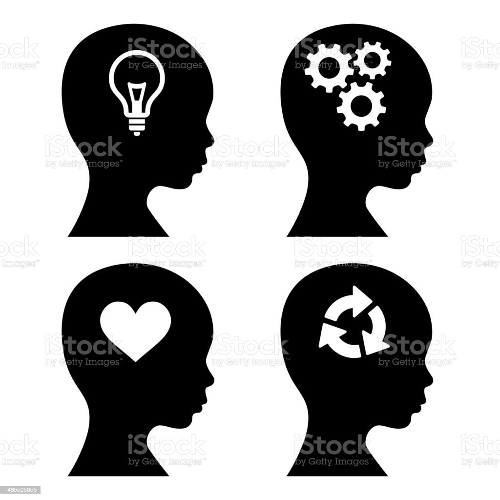 Head Silhouette with Idea Icons Set. Vector royalty-free stock vector art