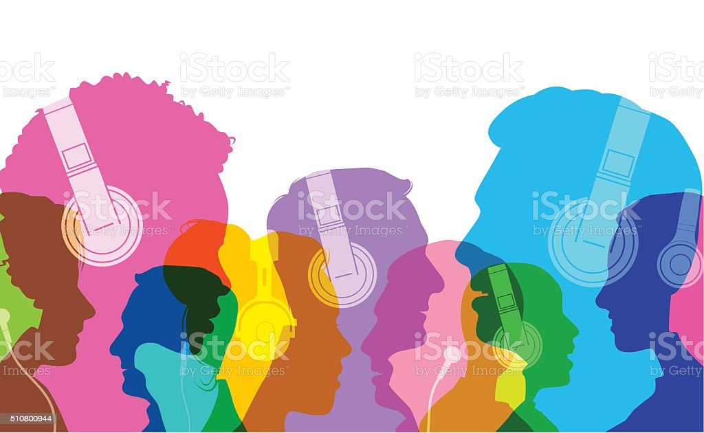 Head silhouettes with Headphones vector art illustration