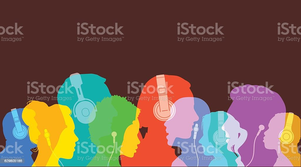 Head silhouettes with Headphones vector art illustration