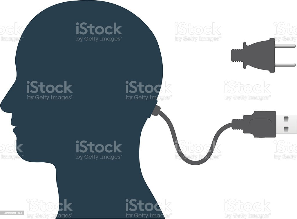 head storage with usb cable royalty-free stock vector art