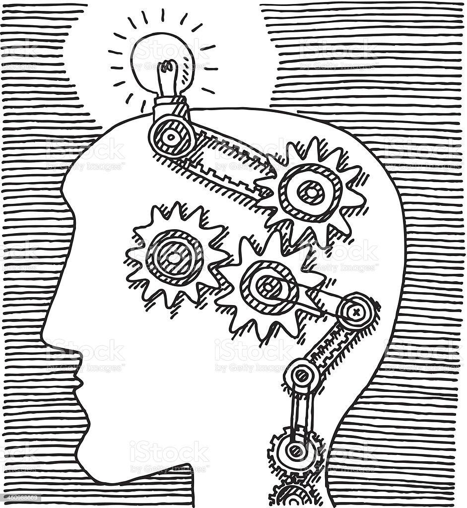 Head Thinking Gears Idea Drawing royalty-free stock vector art
