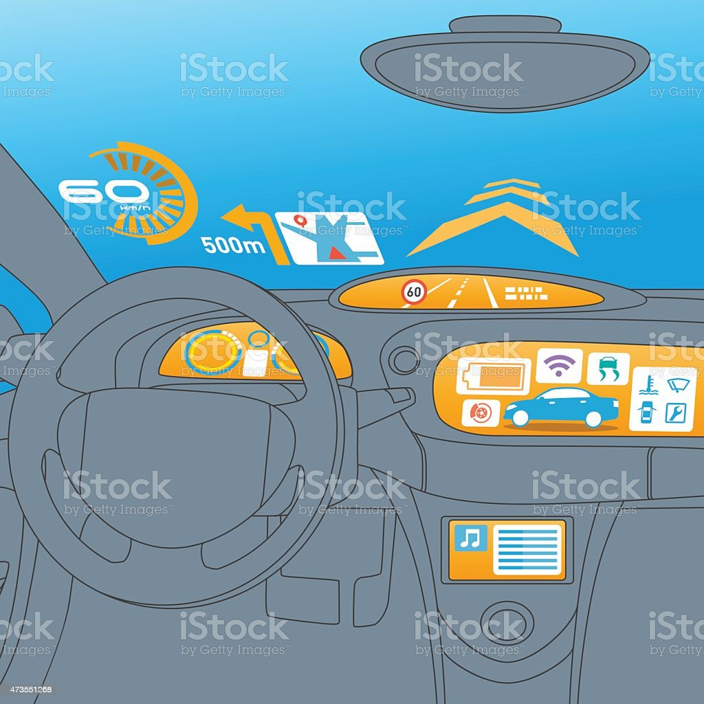Head up display (HUD) and various display in car vector art illustration