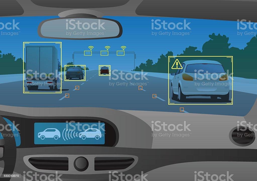 Head up display(HUD) and various information vector art illustration