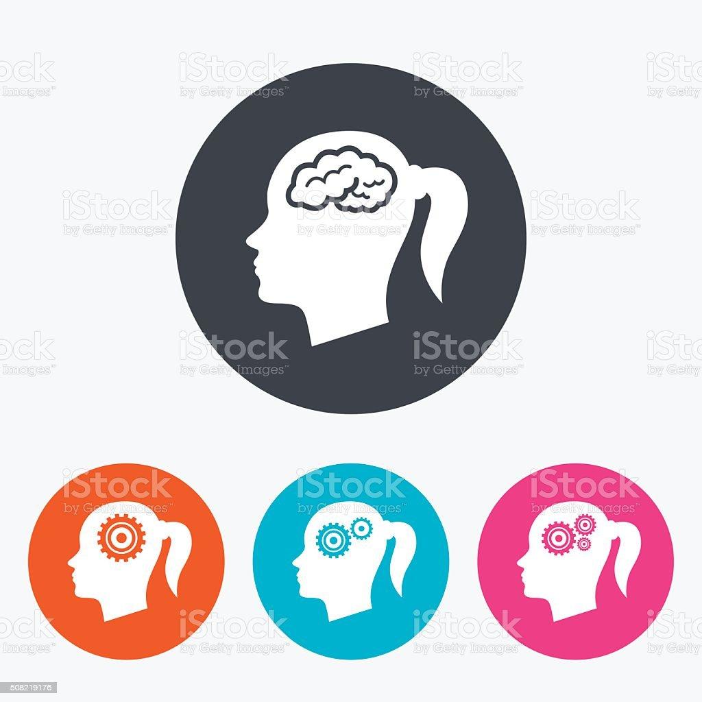 Head with brain icon. Female woman symbols. vector art illustration