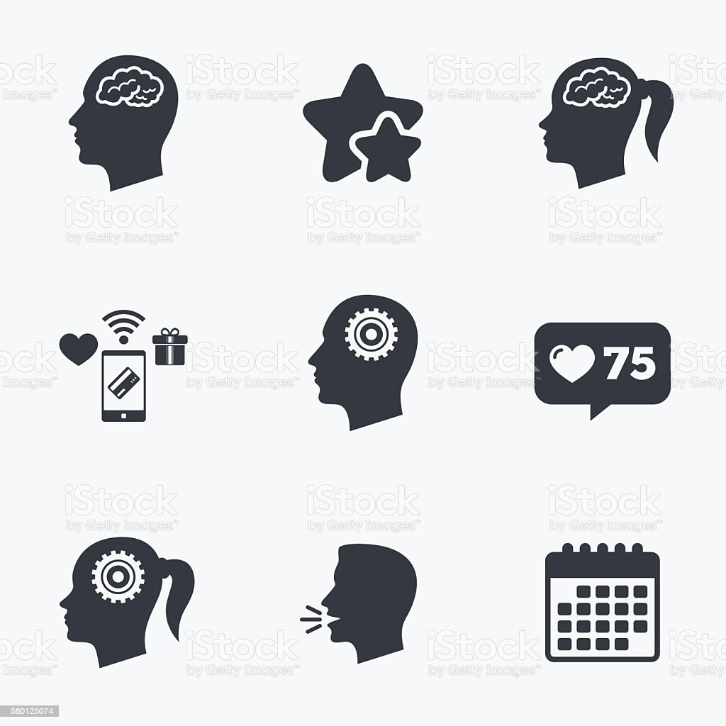 Head with brain icon. Male and female human symbols. vector art illustration