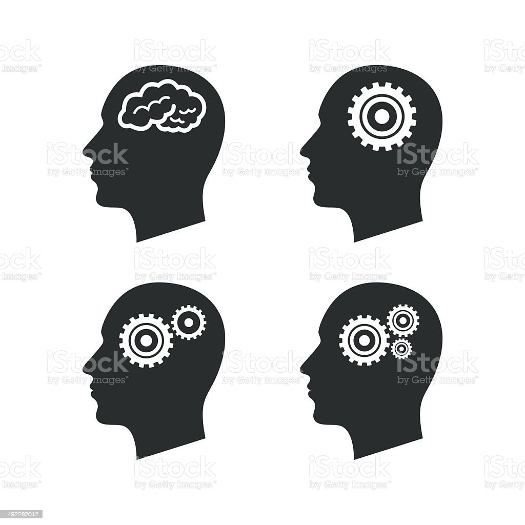 Head with brain icon. Male human symbols vector art illustration