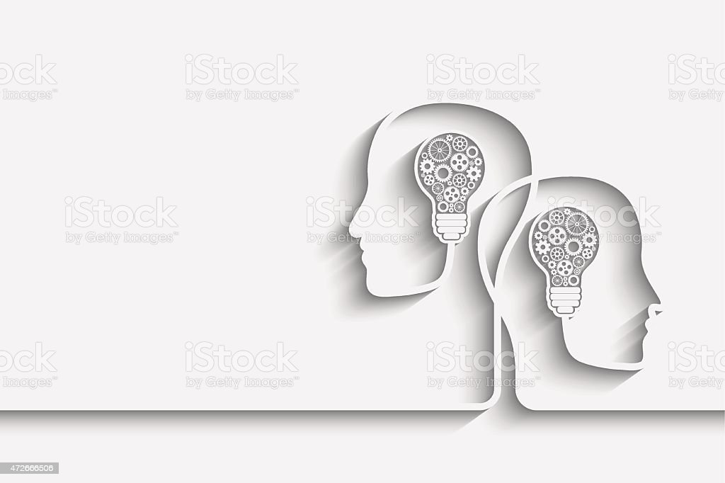 Head with bulb vector art illustration