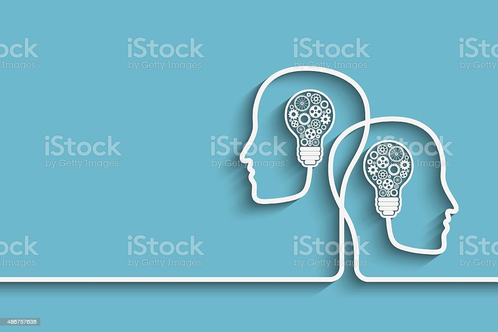Head with bulb vector art illustration