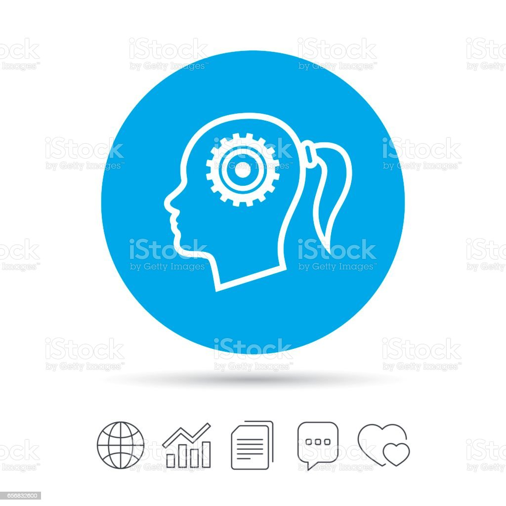 Head with gear sign icon. Female woman head. vector art illustration