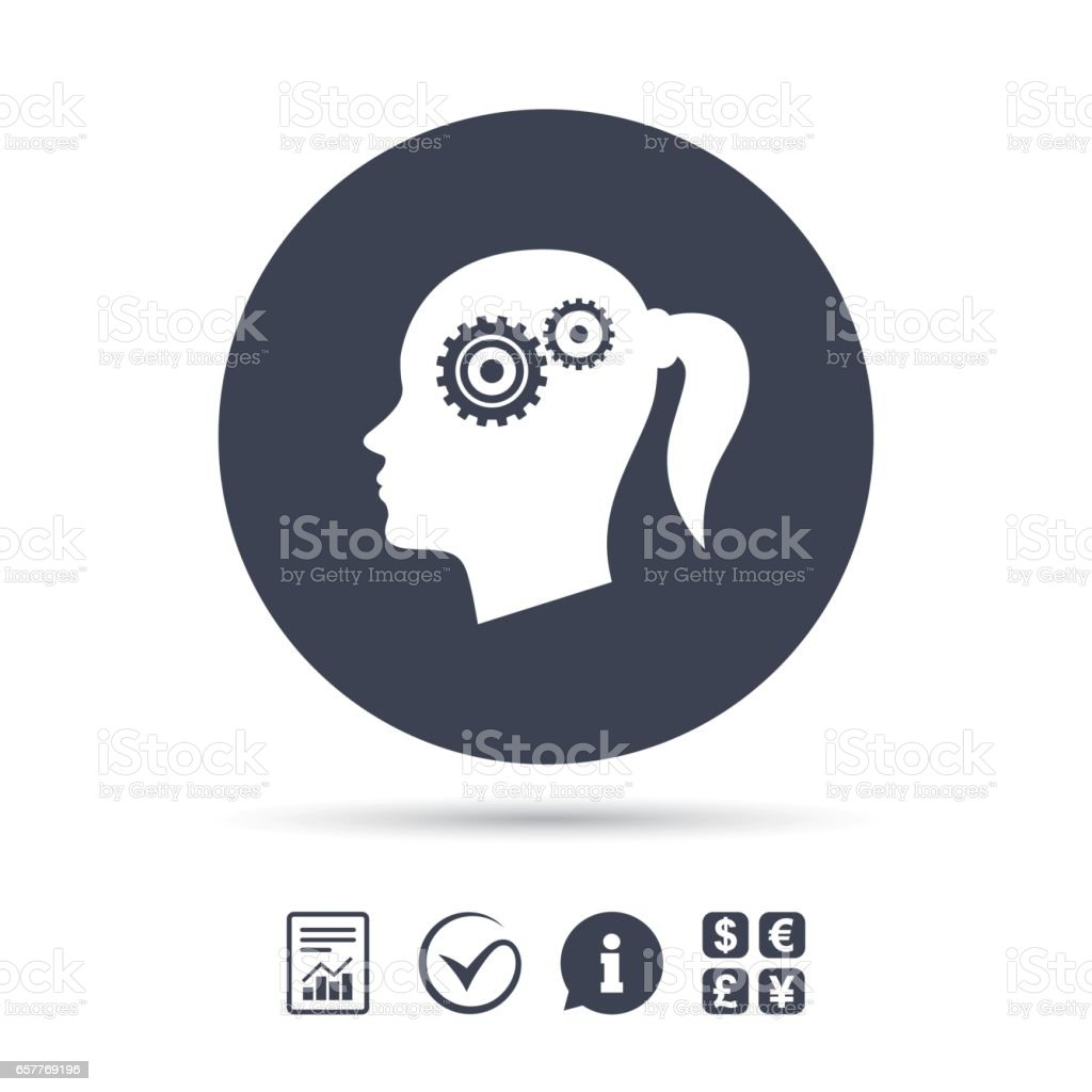 Head with gears sign icon. Female woman head. vector art illustration