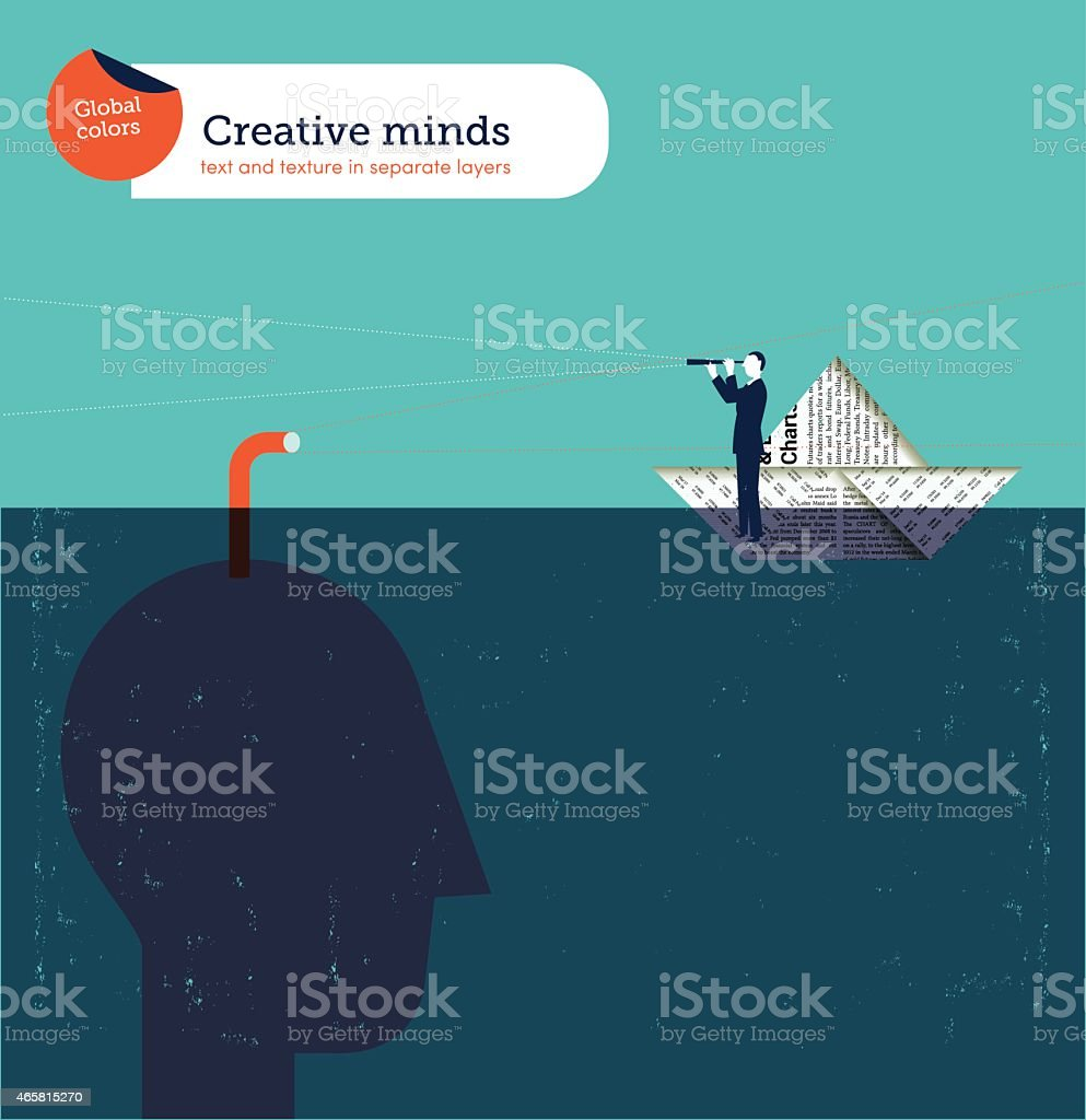 Head with periscope checking businessman on paper boat with spyglass vector art illustration
