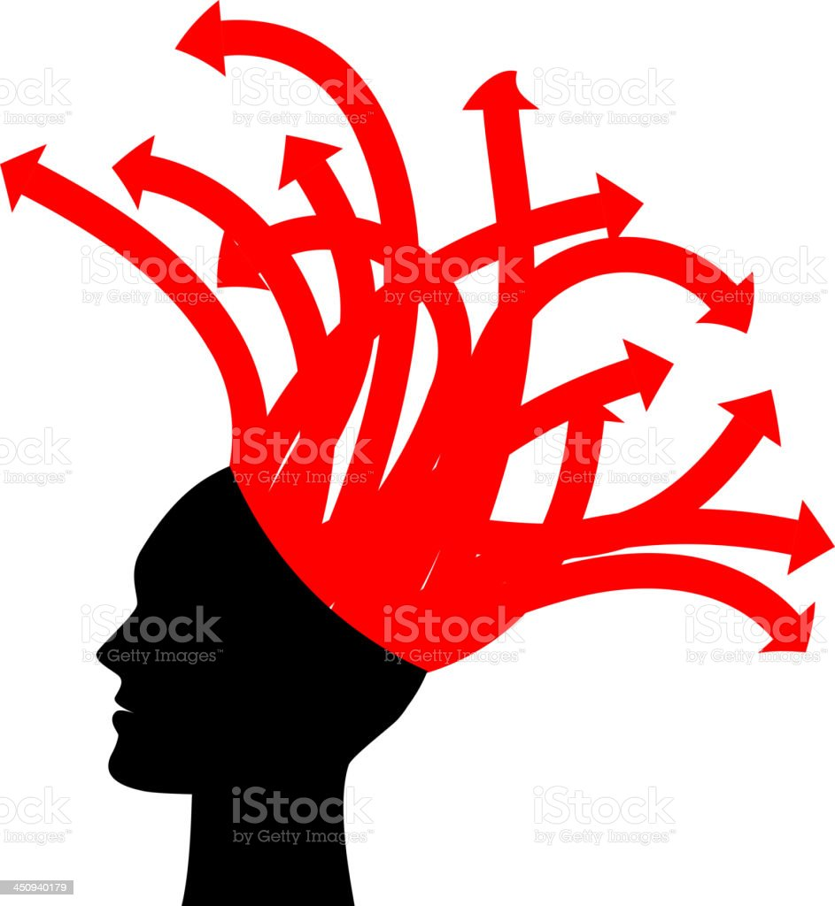 head with red arrows royalty-free stock vector art