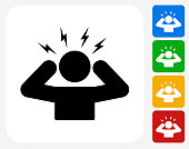 Headache Icon Flat Graphic Design