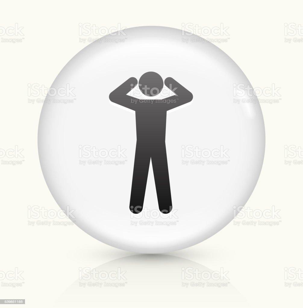 Headache icon on white round vector button vector art illustration
