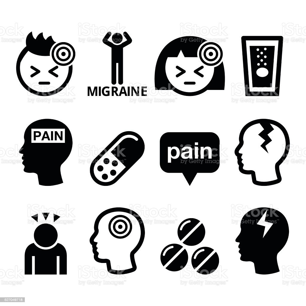 Headache, migraine - medical vector icons set vector art illustration