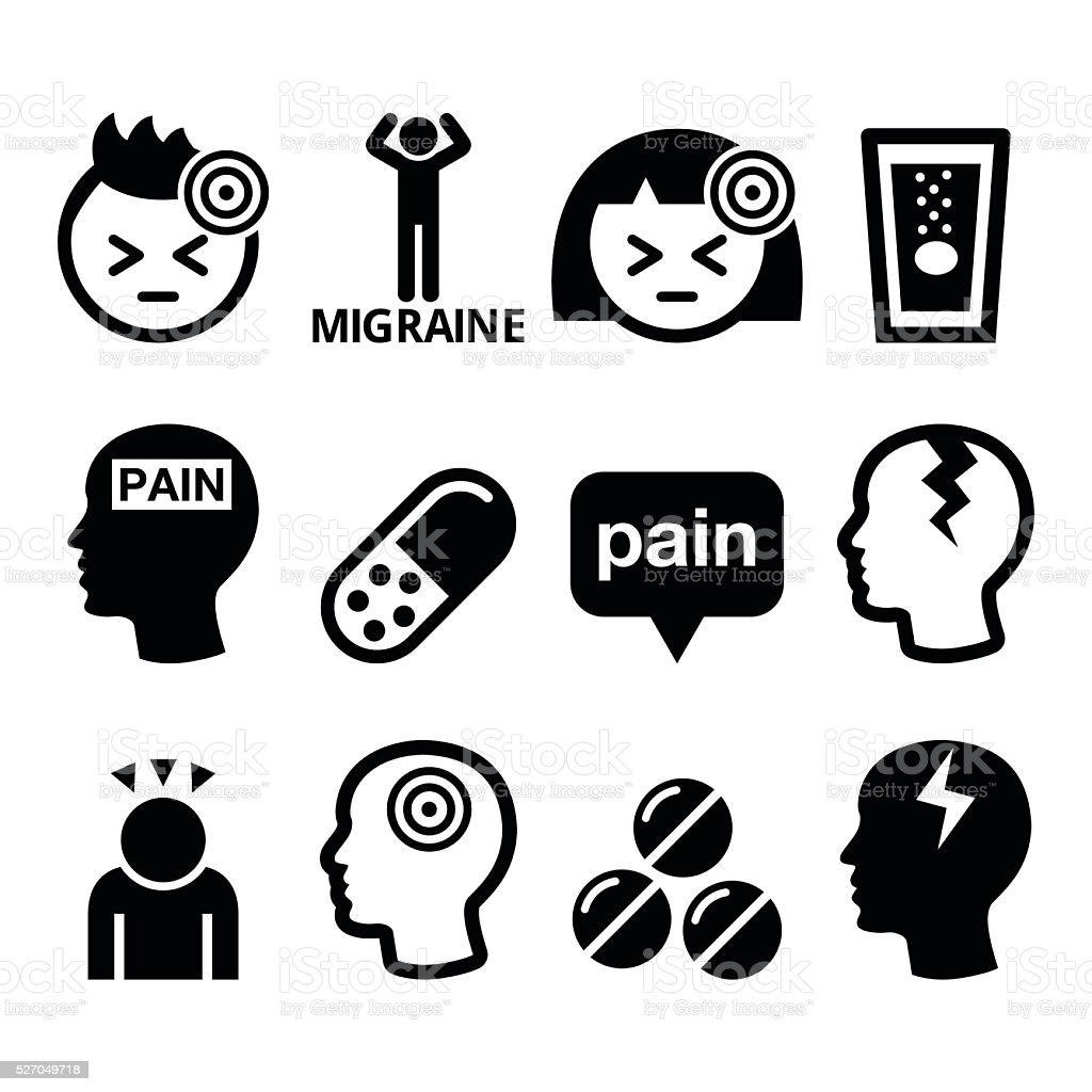 Headache, migraine - medical vector icons set vector art illustration