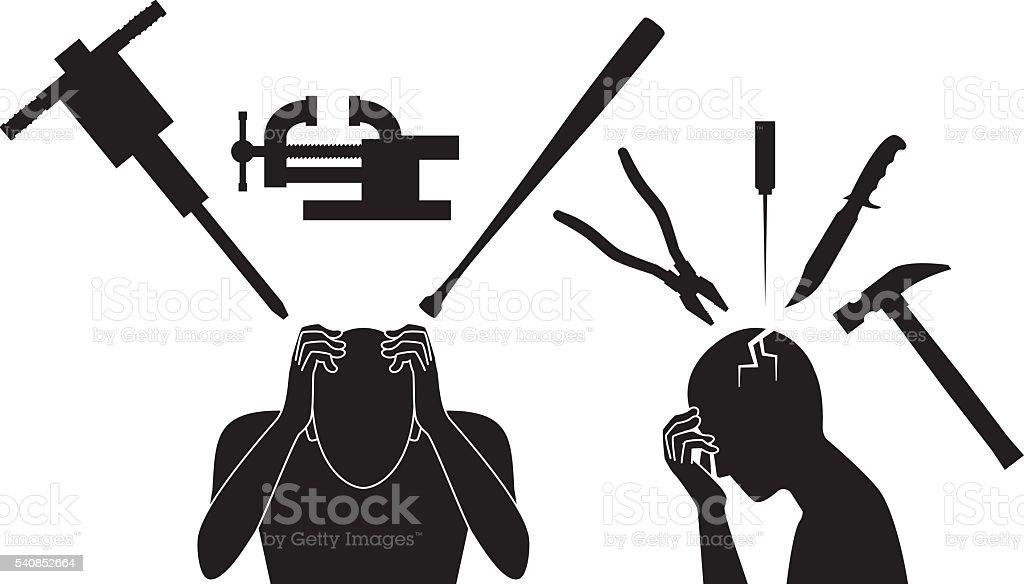 Headache. pain. vector art illustration