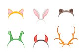 Headband with Ears Holiday Set. Vector