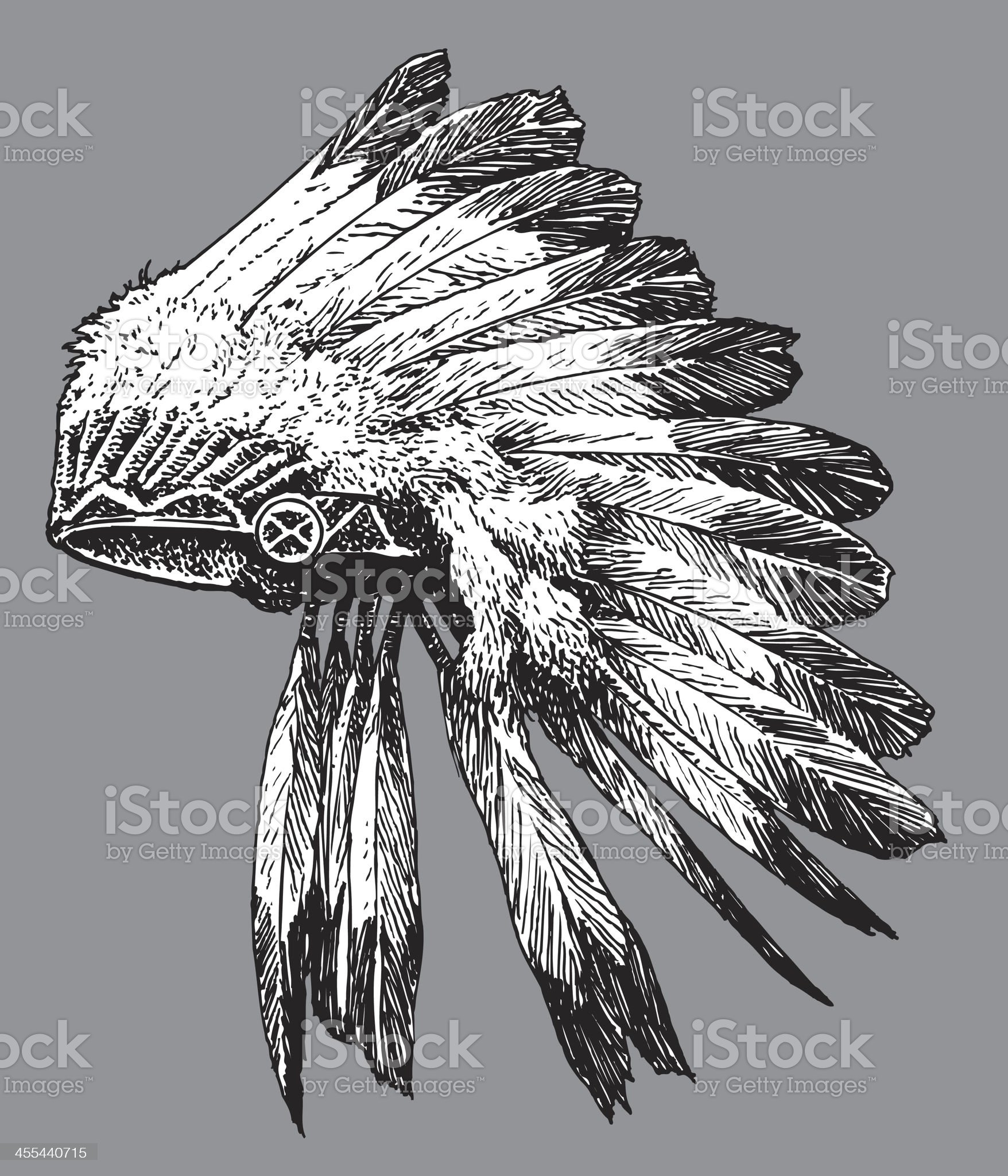 Headdress - American Indian royalty-free stock vector art