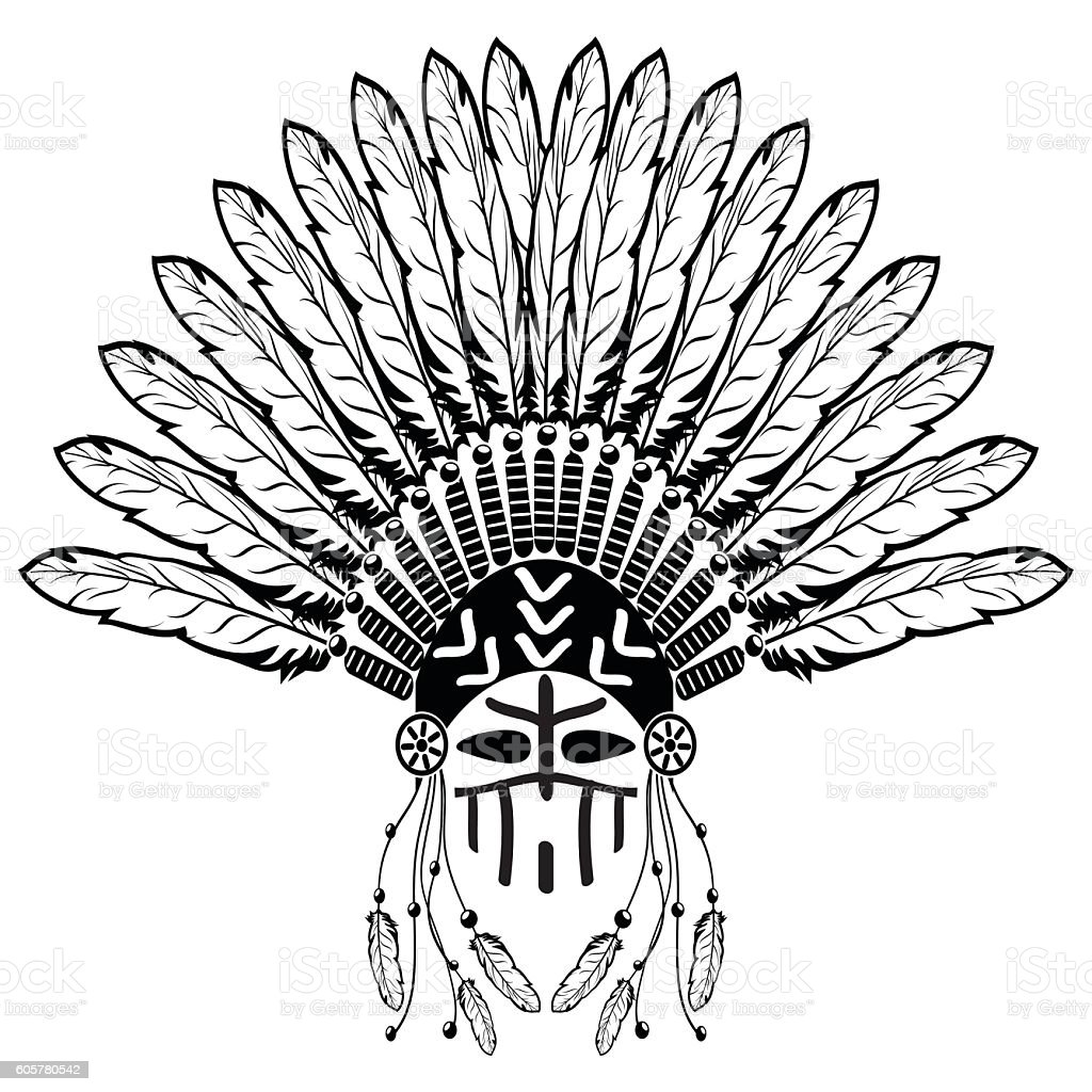 Headdress and warrior make up native American tribes style vector art illustration