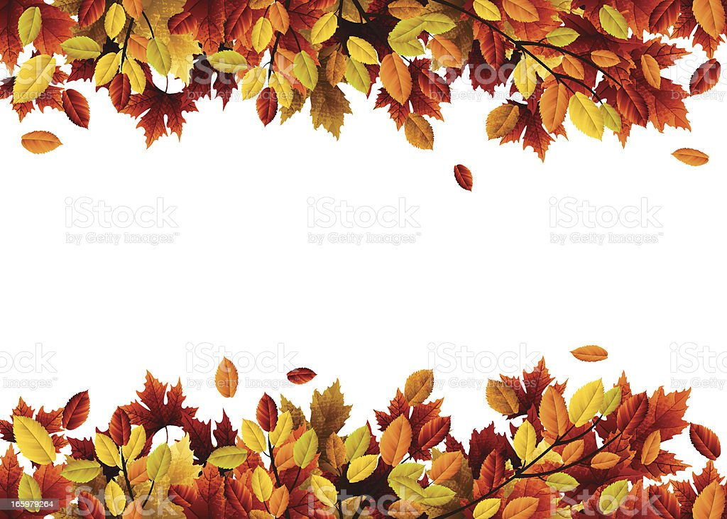 Header and footer made of autumn leaves vector art illustration