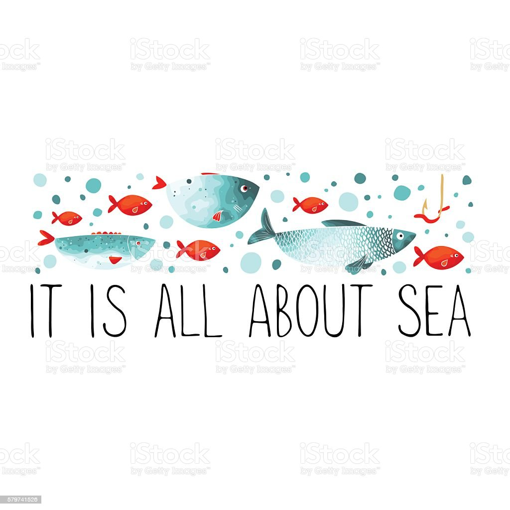 header with funny fish in turquoise and red colors stock vector