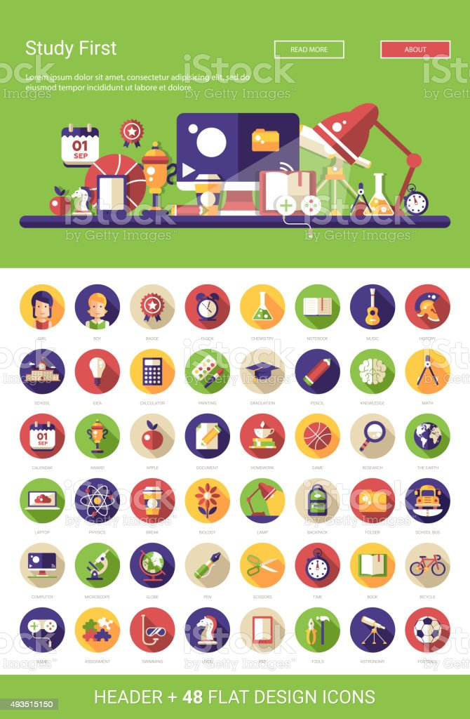 Header with modern flat design school, college icons and infogra vector art illustration