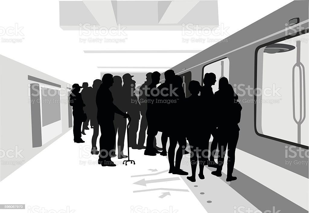 Heading Home On The Subway vector art illustration