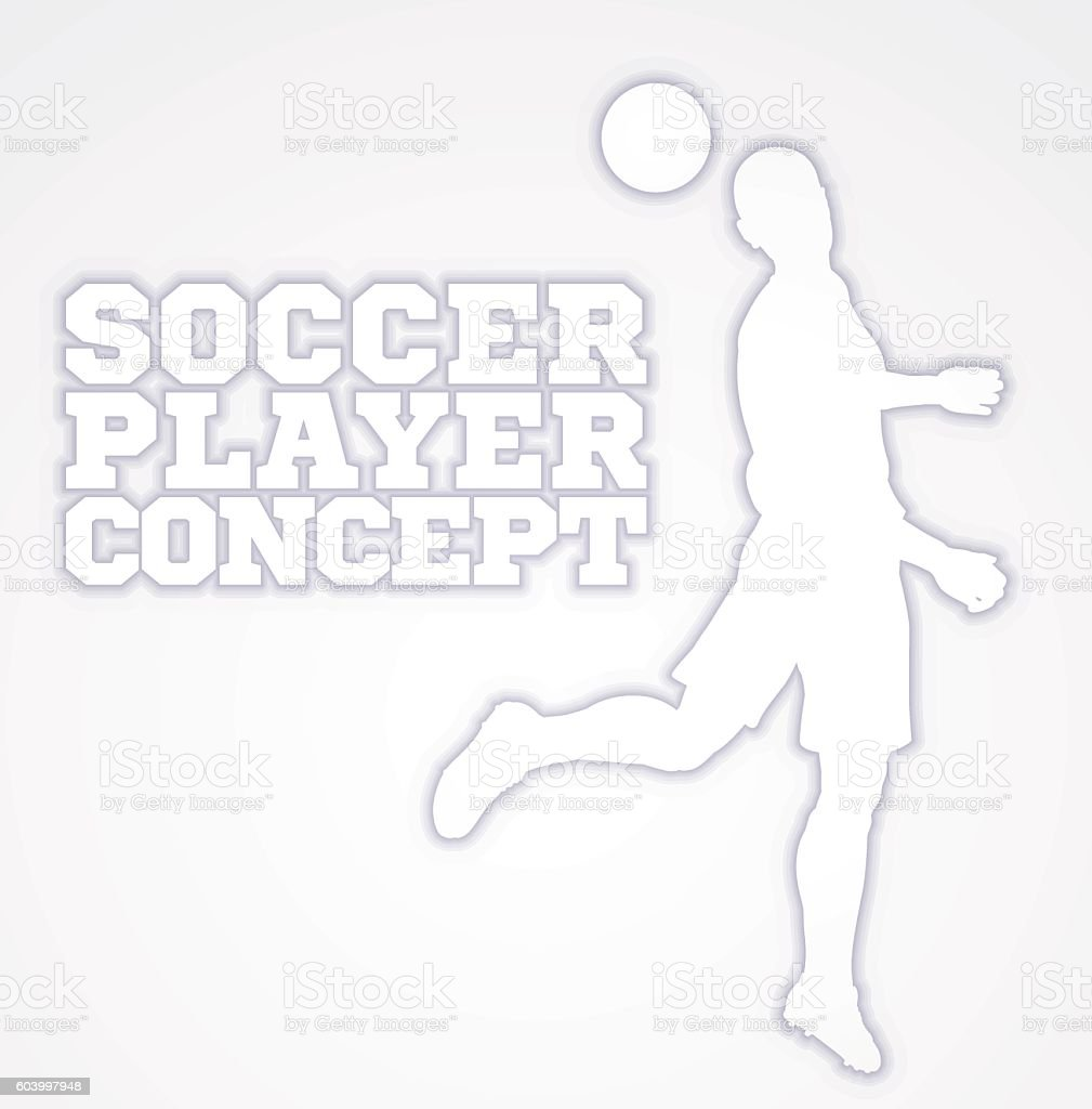 Heading Soccer Football Player Concept Silhouette vector art illustration