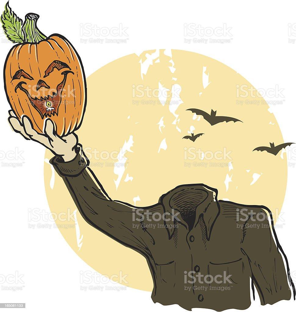 headless pumpkin man and moon royalty-free stock vector art