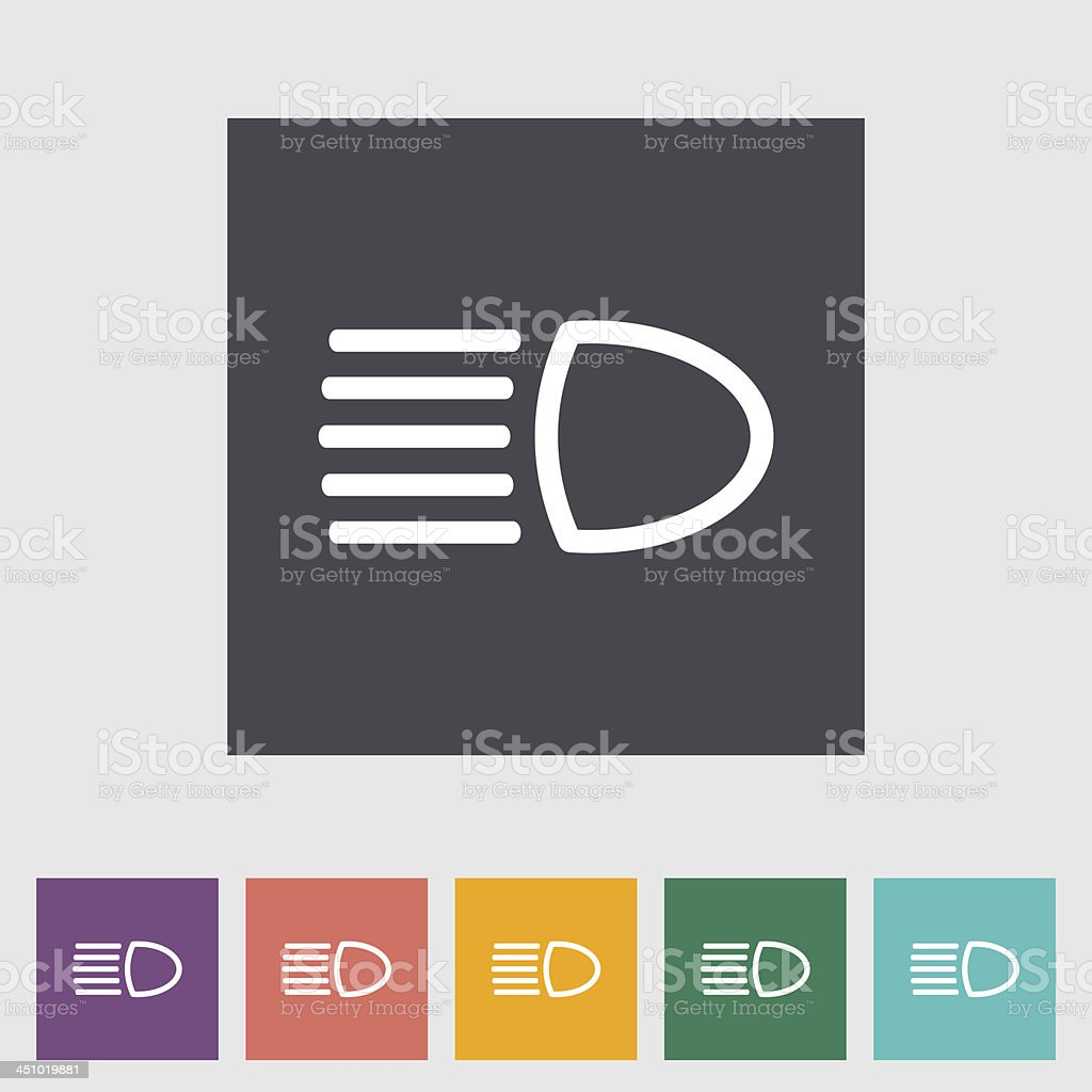 Headlight flat icon. vector art illustration