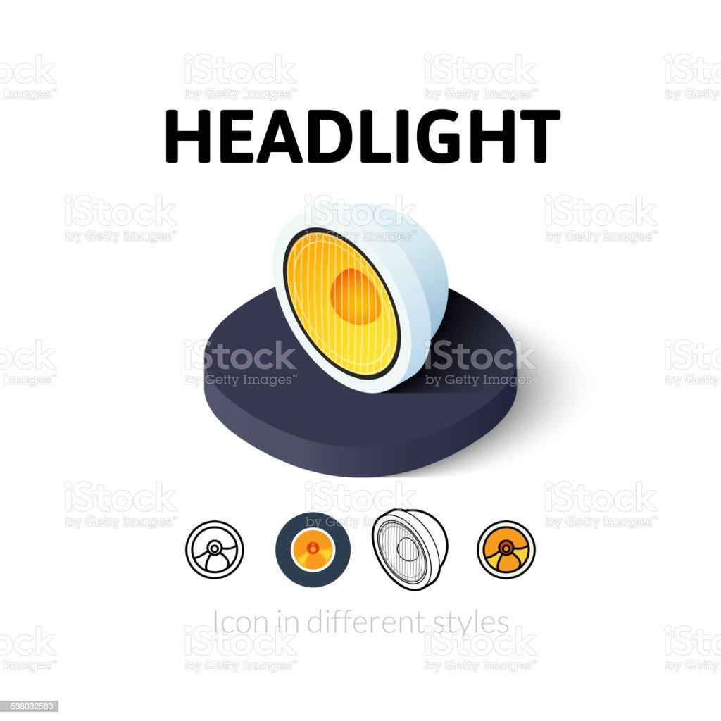 Headlight icon in different style vector art illustration