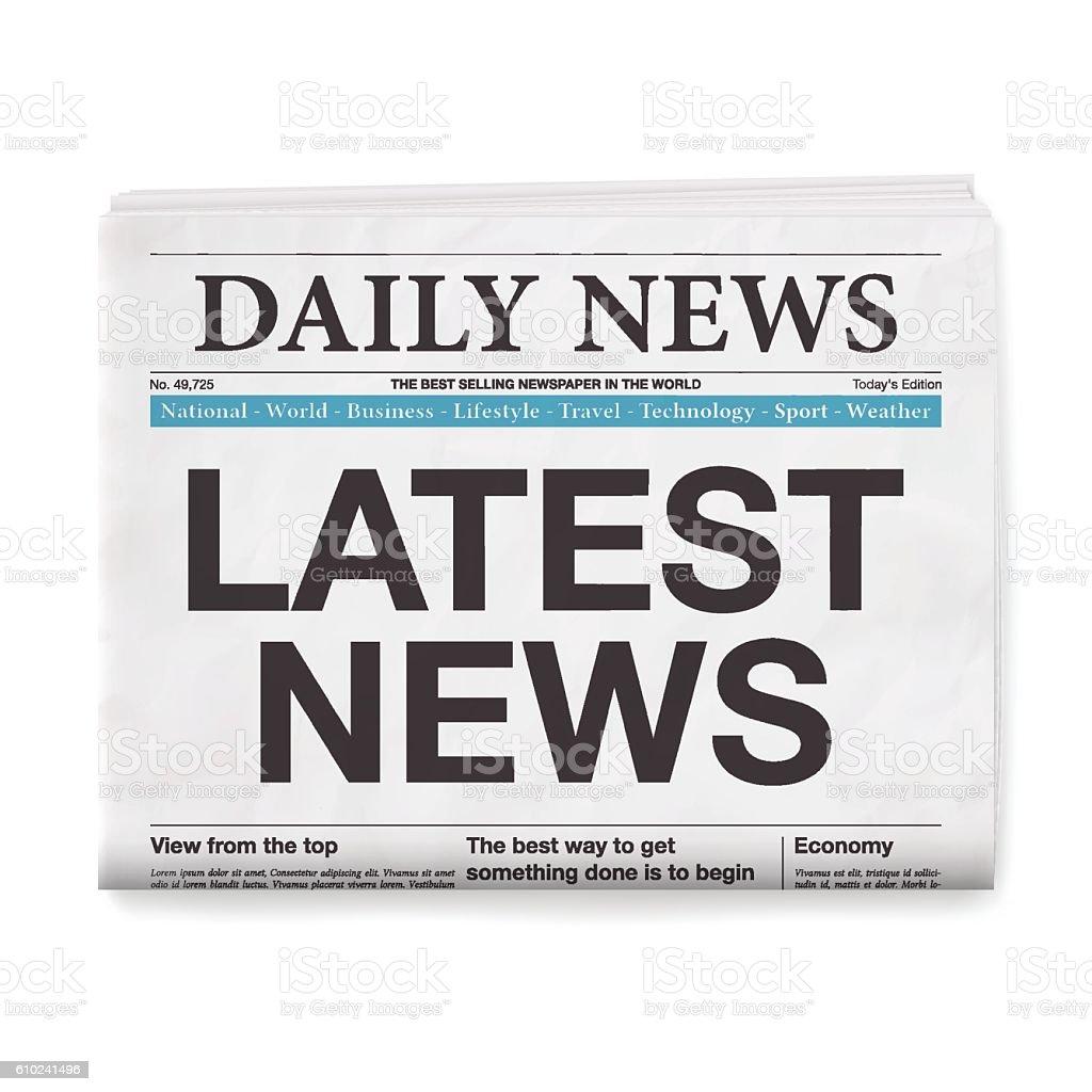 LATEST NEWS Headline. Newspaper isolated on White Background vector art illustration