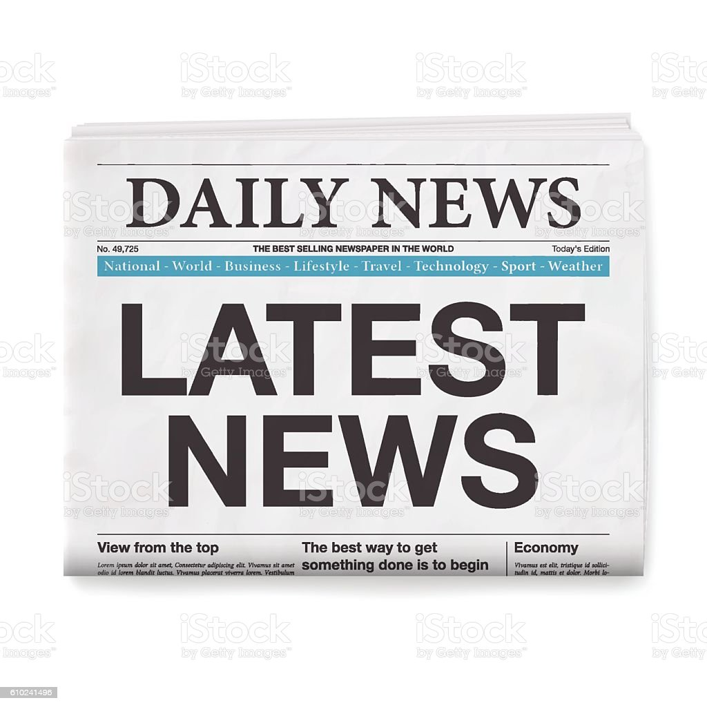 LATEST NEWS Headline. Newspaper isolated on White Background vector art illustration