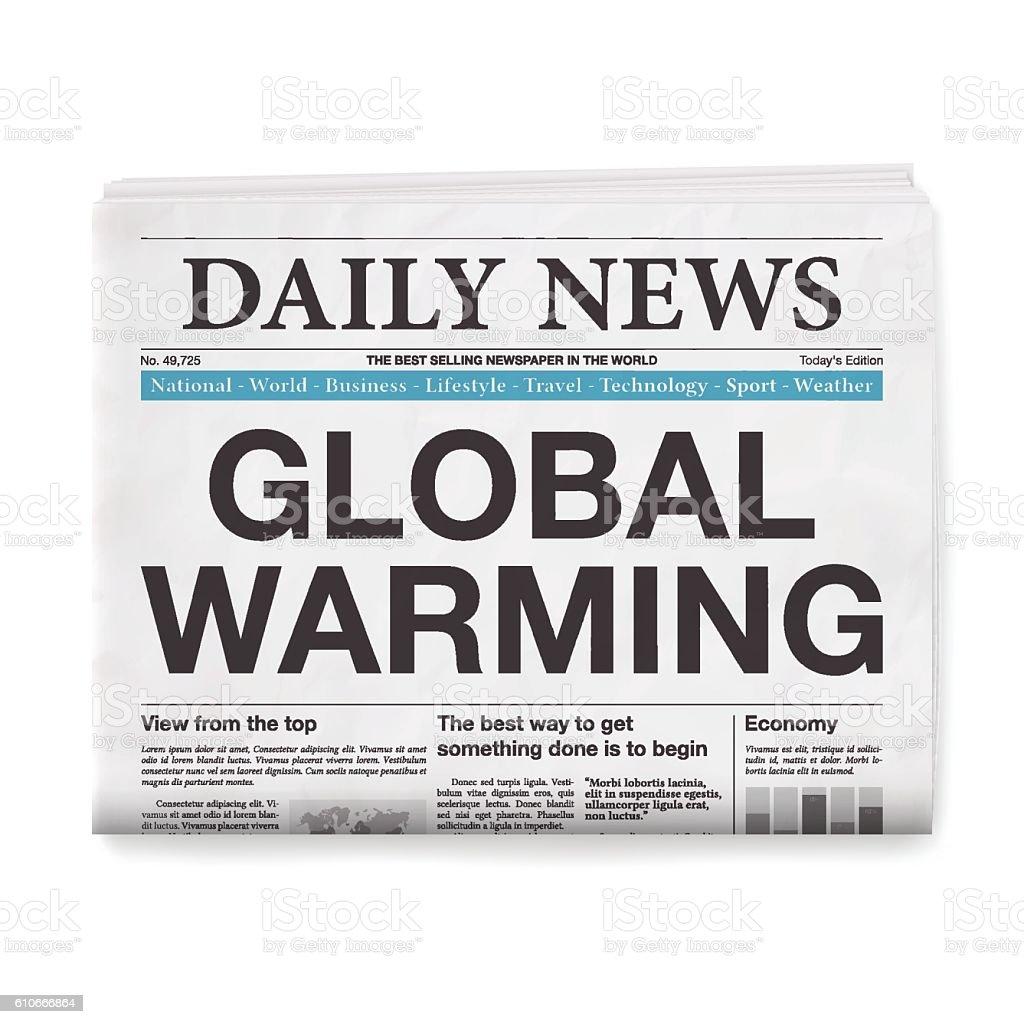 GLOBAL WARMING Headline. Newspaper isolated on White Background vector art illustration