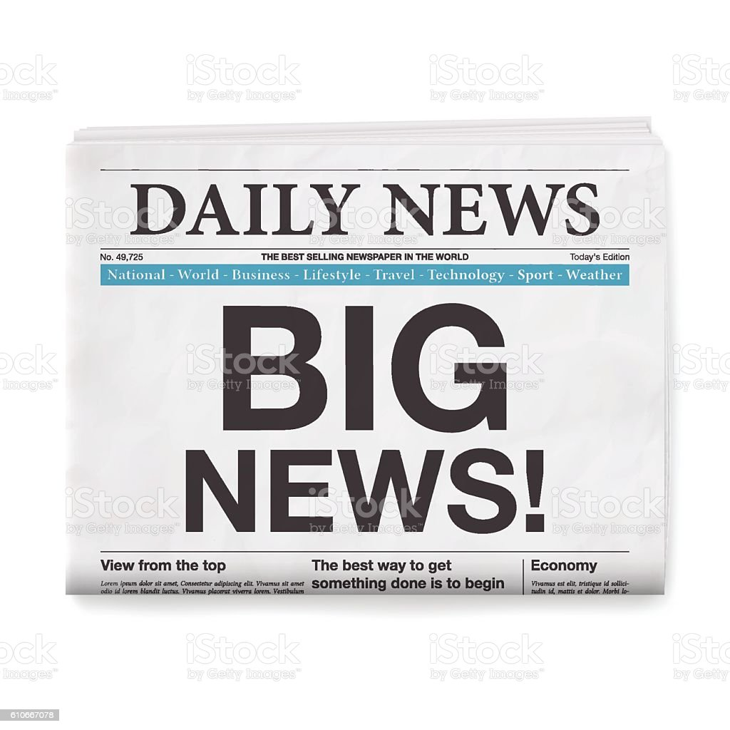 BIG NEWS! Headline. Newspaper isolated on White Background vector art illustration