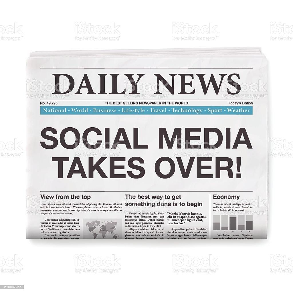 SOCIAL MEDIA TAKES OVER! Headline. Newspaper isolated on White Background vector art illustration