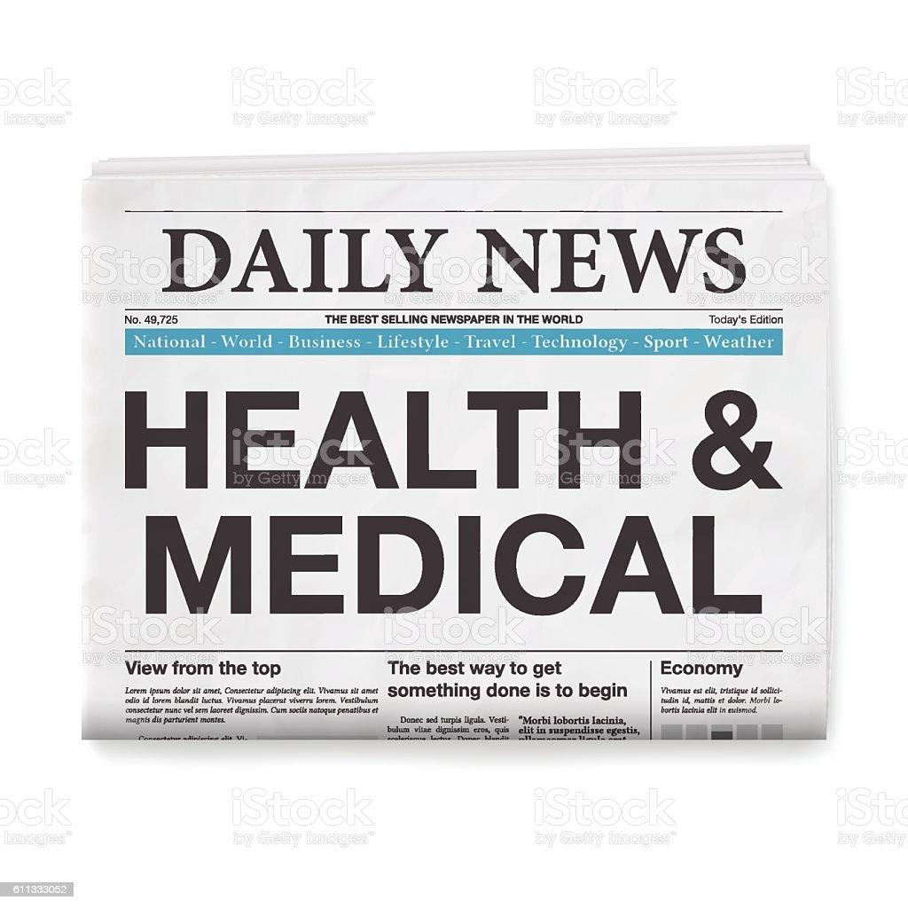 HEALTH & MEDICAL Headline. Newspaper isolated on White Background vector art illustration
