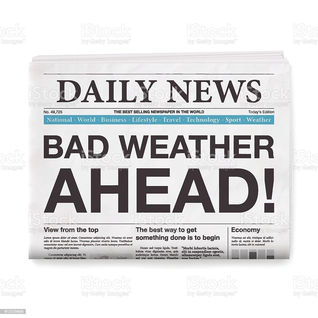 BAD WEATHER! Headline. Newspaper isolated on White Background vector art illustration
