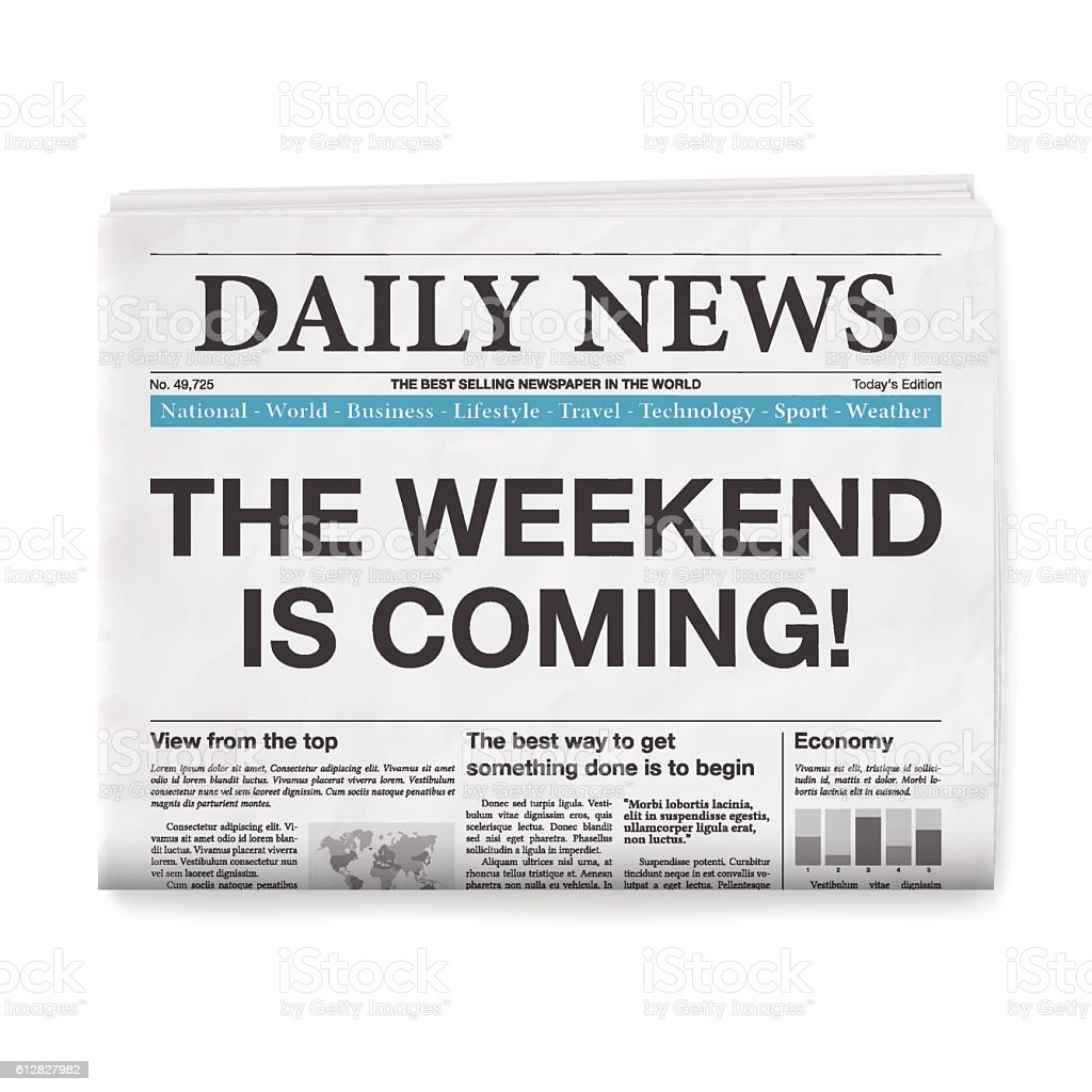 THE WEEKEND IS COMING! Headline. Newspaper isolated on White Background vector art illustration