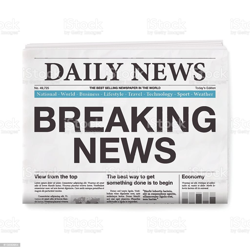 BREAKING NEWS Headline. Newspaper isolated on White Background vector art illustration
