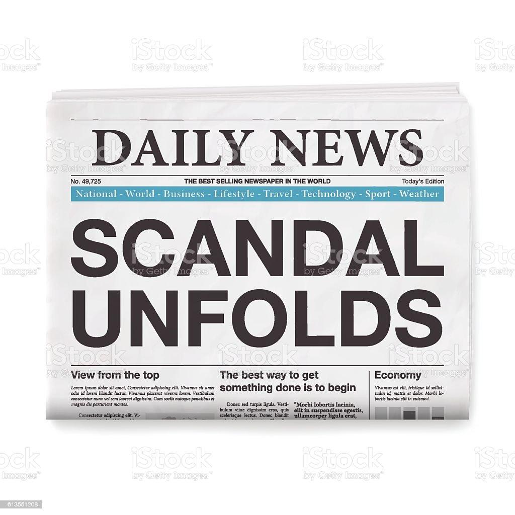 SCANDAL UNFOLDS Headline. Newspaper isolated on White Background vector art illustration