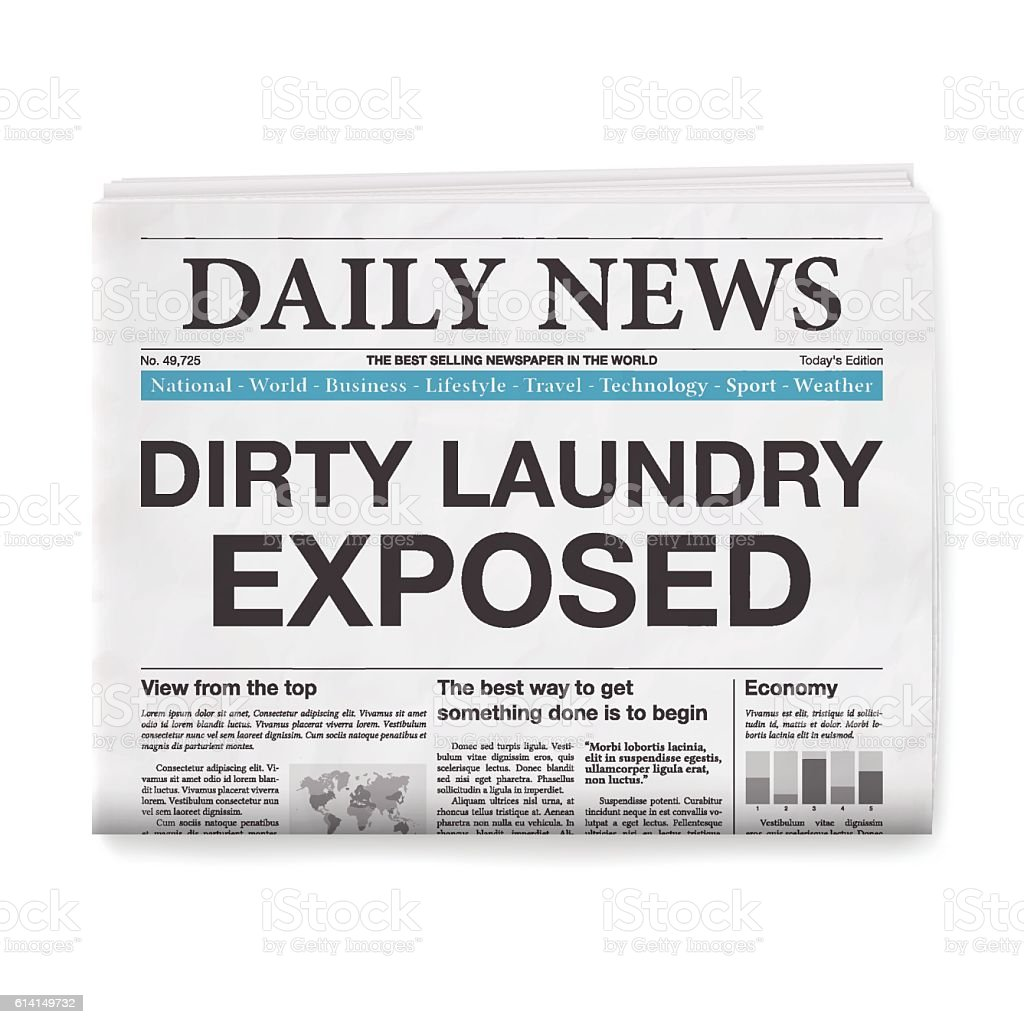 DIRTY LAUNDRY EXPOSED Headline. Newspaper isolated on White Background vector art illustration