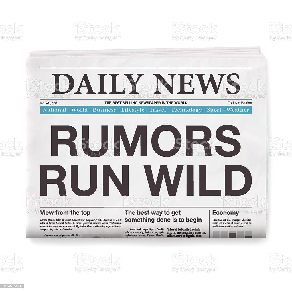 RUMORS RUN WILD Headline. Newspaper isolated on White Background vector art illustration