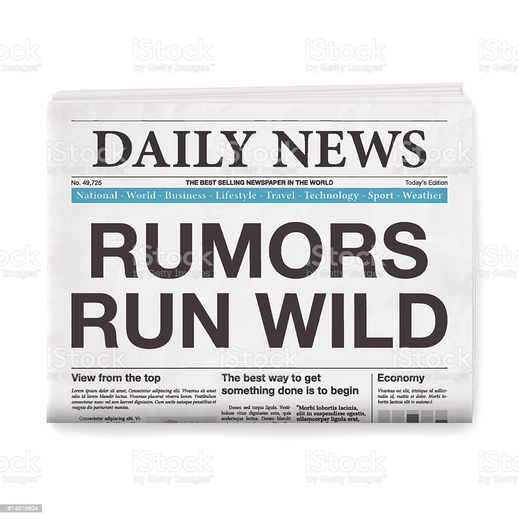 RUMORS RUN WILD Headline. Newspaper isolated on White Background vector art illustration