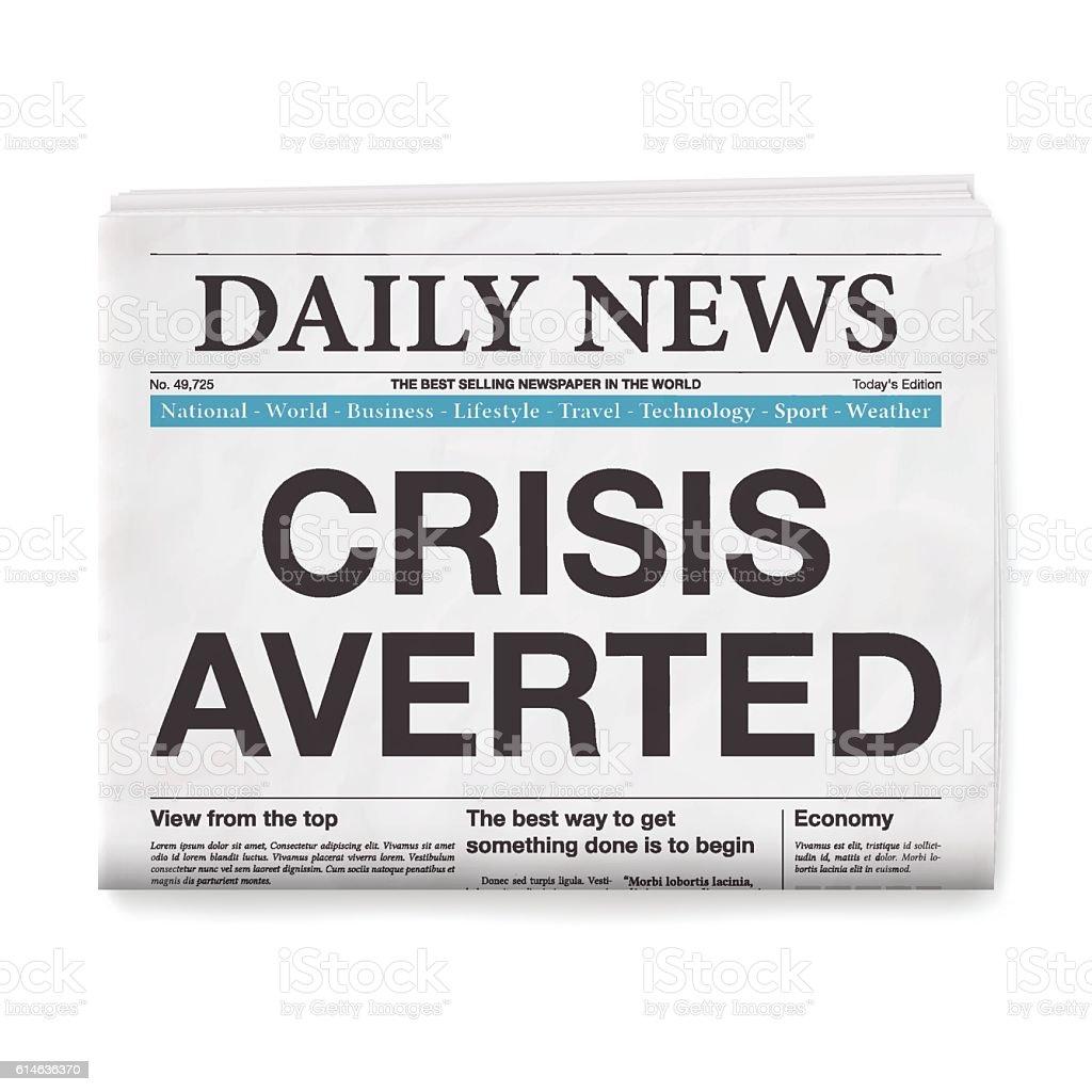 CRISIS AVERTED Headline. Newspaper isolated on White Background vector art illustration