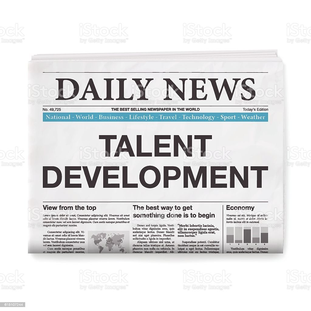 TALENT DEVELOPMENT Headline. Newspaper isolated on White Background vector art illustration