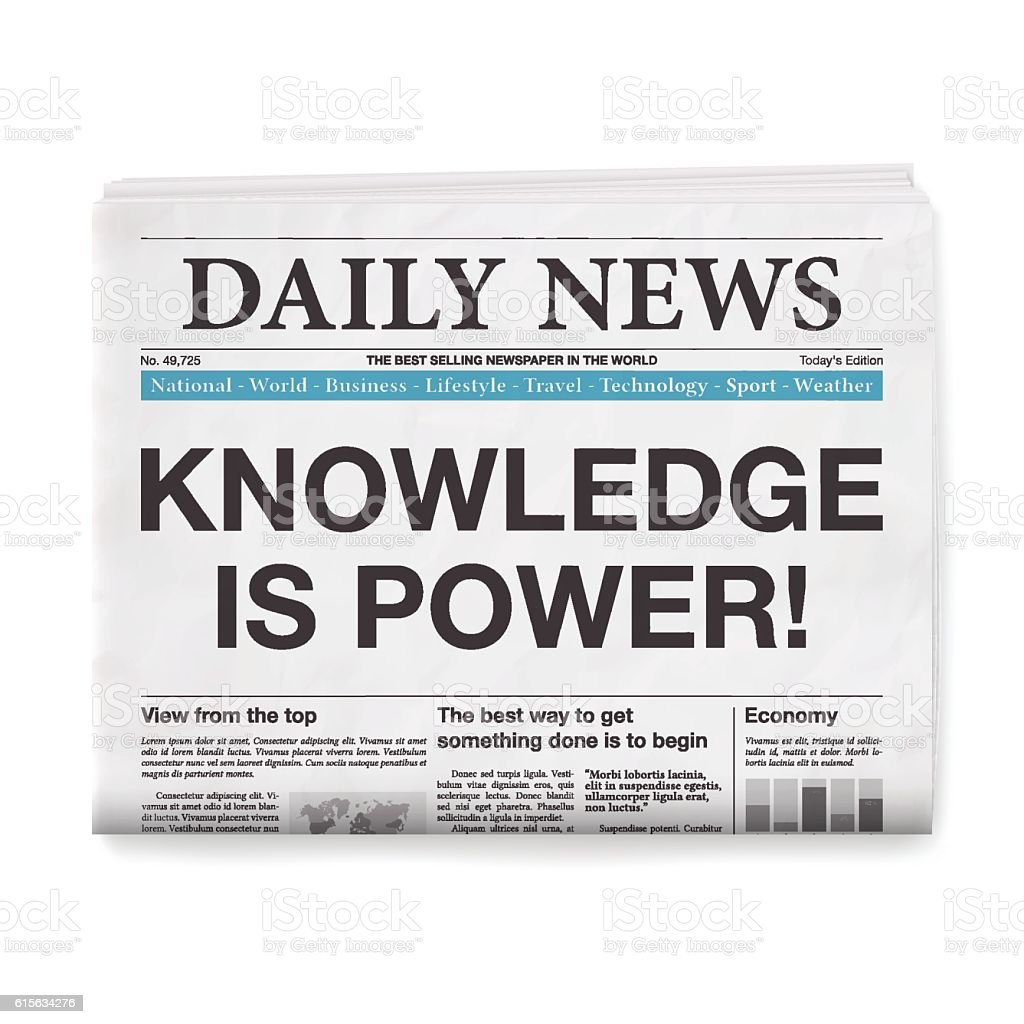 KNOWLEDGE IS POWER! Headline. Newspaper isolated on White Background vector art illustration