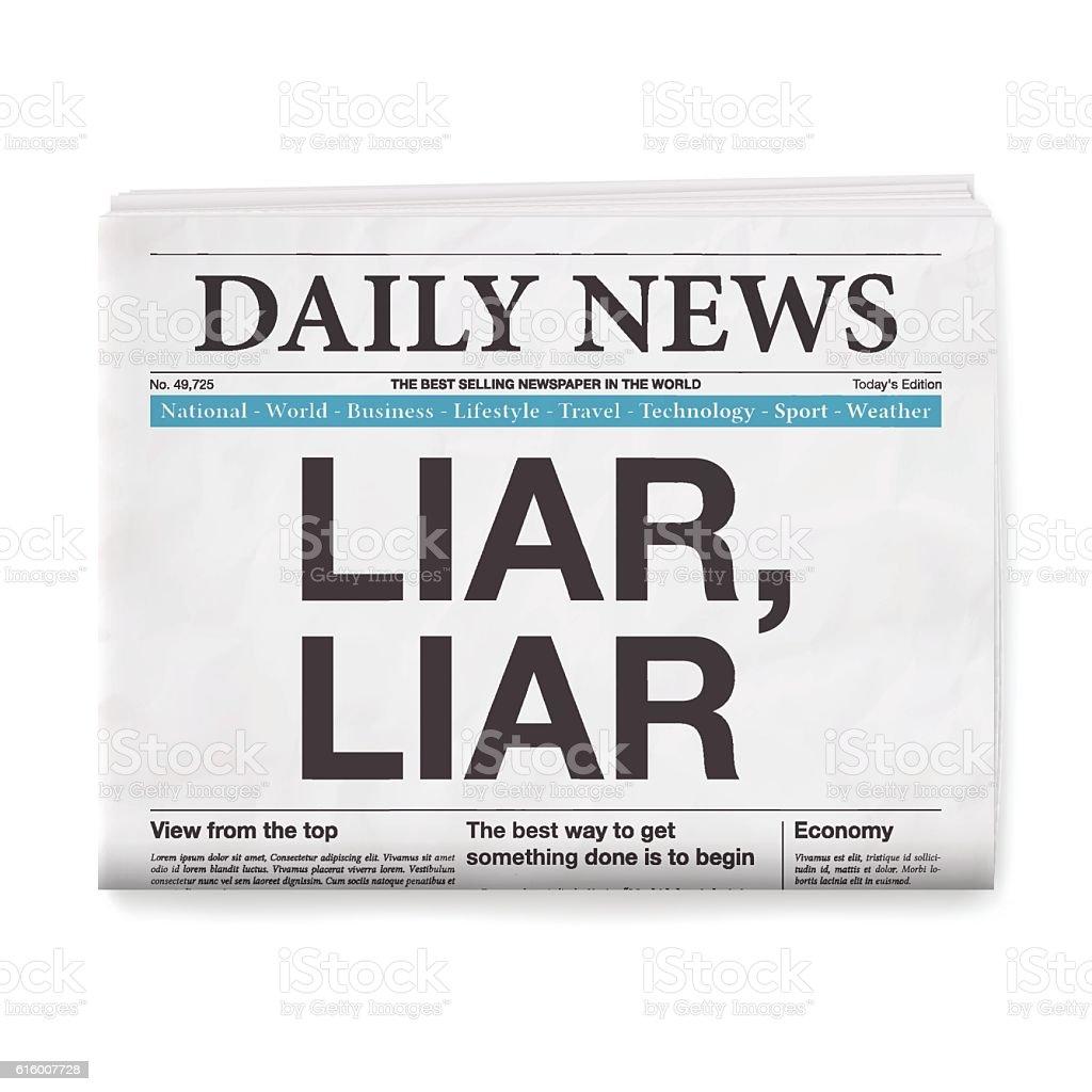 LIAR, LIAR Headline. Newspaper isolated on White Background vector art illustration